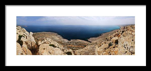 Cyprus Framed Print featuring the photograph Beautiful View On Mediterranean Sea From Cape Gkreko In Cyprus by Oleksiy Maksymenko