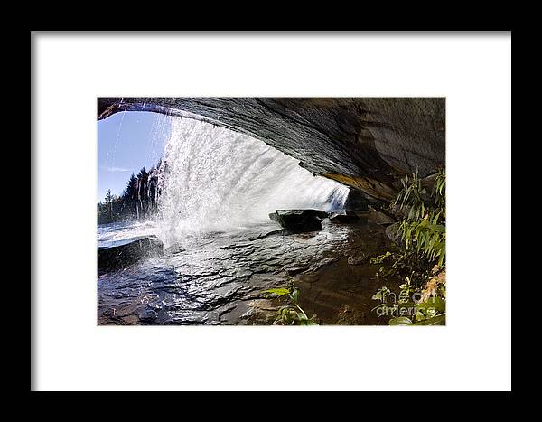 Behind Bridal Veil Falls In Dupont State Park Nc Framed Print featuring the photograph Behind Bridal Veil Falls In Dupont State Park Nc by Dustin K Ryan