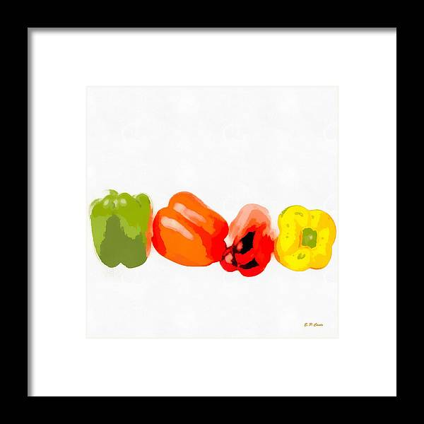 Bell Peppers Framed Print featuring the painting Bell Peppers by Elizabeth Coats