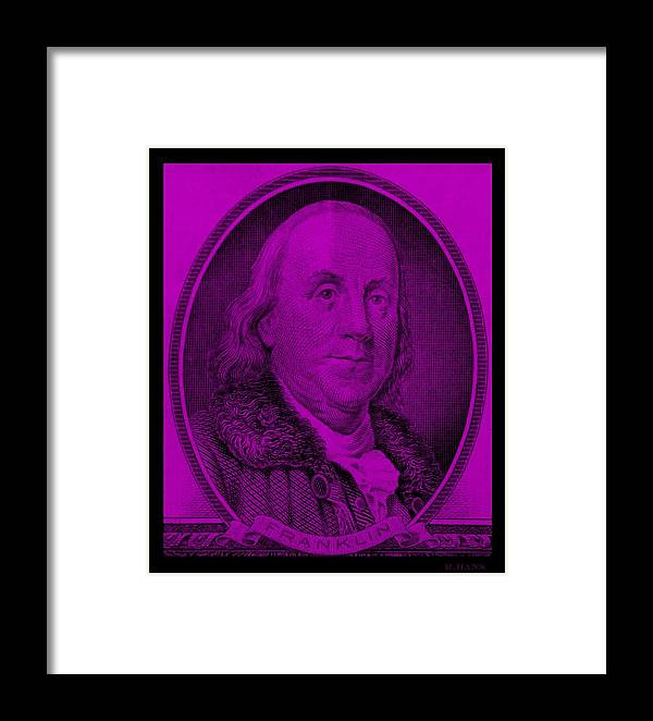 Ben Franklin Framed Print featuring the photograph Ben Franklin In Purple by Rob Hans
