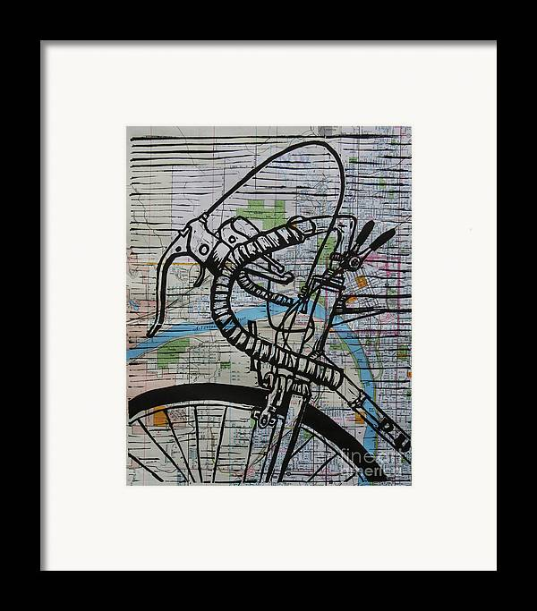Print Framed Print featuring the drawing Bike 2 On Map by William Cauthern