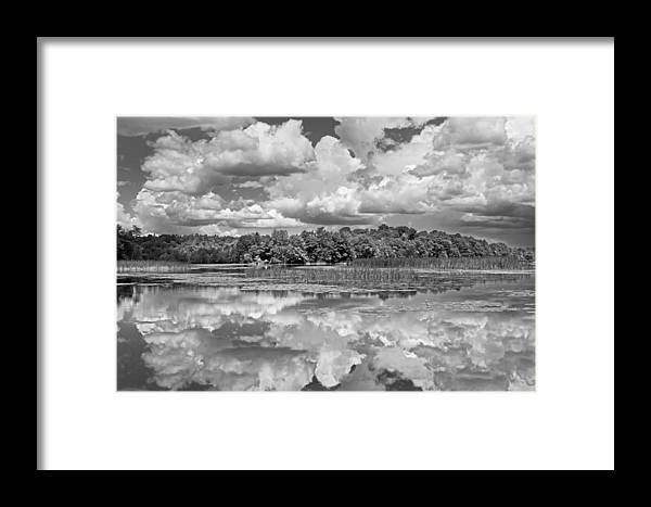 Black And White Storm Clouds Cobbossee Lake Maine Fine Art Print Framed  Print