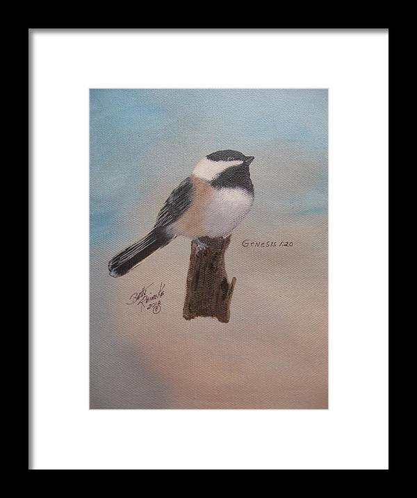 \black Capped Chickadee\ Framed Print featuring the painting Black Capped Chickadee by Betty Reineke