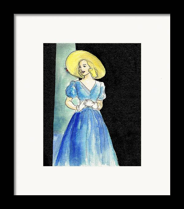 Nostalgia Framed Print featuring the drawing Blue Gown by Mel Thompson