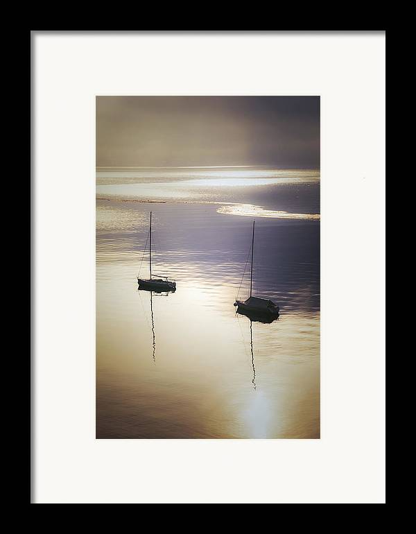Boat Framed Print featuring the photograph Boats In Mist by Joana Kruse