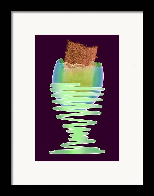 Egg Framed Print featuring the photograph Boiled Egg In An Eggcup, X-ray by D. Roberts