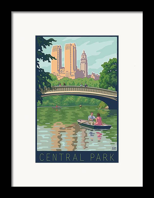 Bow Bridge Framed Print featuring the digital art Bow Bridge In Central Park by Mitch Frey
