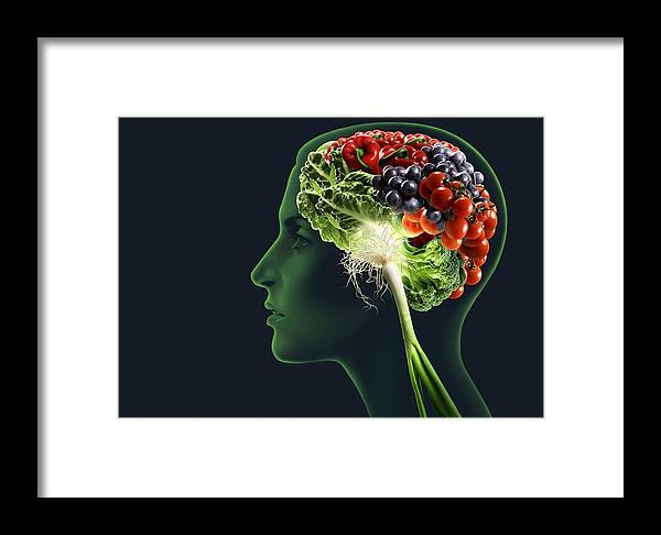 Medicine Framed Print featuring the photograph Brain Food, Conceptual Image by Smetek