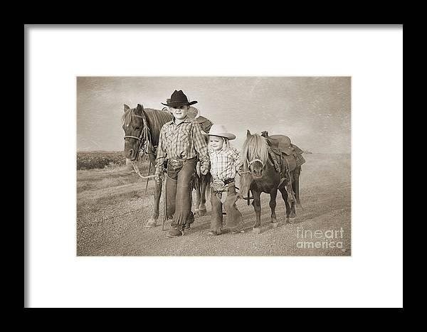 Horse Framed Print featuring the digital art Buckaroo Friends by Cindy Singleton