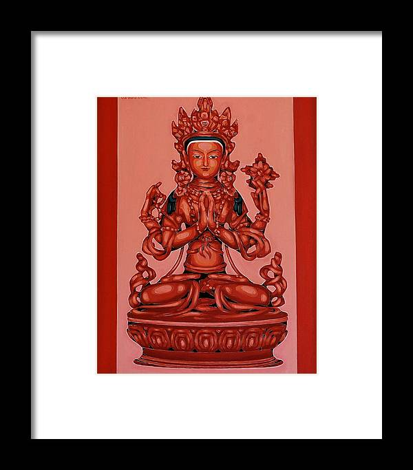 Framed Print featuring the painting Buddha Of Compassion by Varvara Stylidou