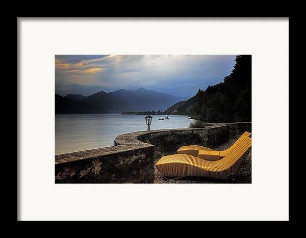 Lake Maggiore Framed Print featuring the photograph Canvas Chairs by Joana Kruse