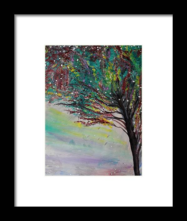 Trees Framed Print featuring the painting Change Of Falls' Sparkle by Tifanee Petaja