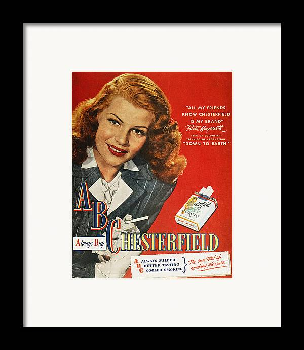 1947 Framed Print featuring the photograph Chesterfield Cigarette Ad by Granger