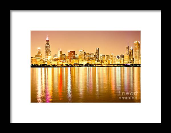 America Framed Print featuring the photograph Chicago Skyline At Night Photo by Paul Velgos