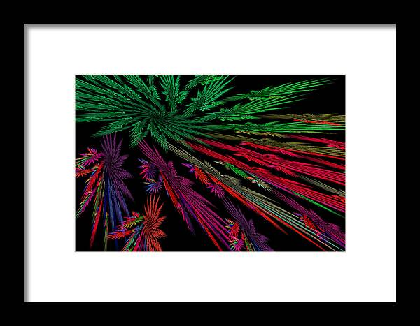 Red Framed Print featuring the photograph Computer Generated Red Green Abstract Fractal Flame Modern Art by Keith Webber Jr