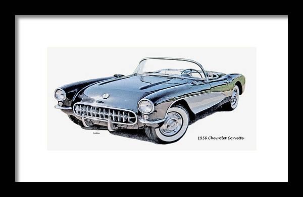Chevrolet Corvette Framed Print featuring the digital art Corvette by Larry Linton