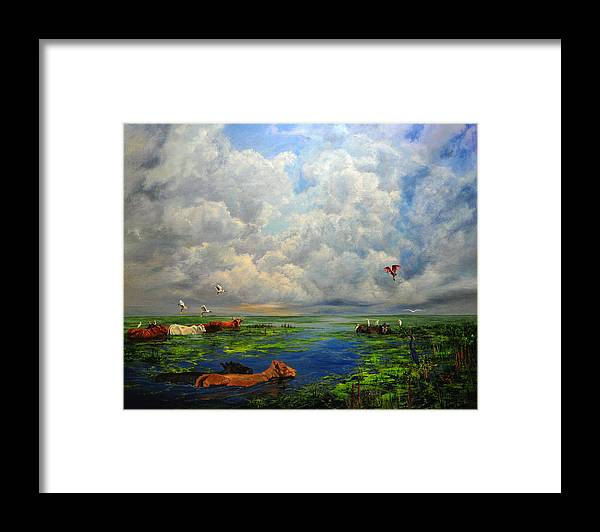 Landscape Framed Print featuring the painting Cow Party by AnnaJo Vahle