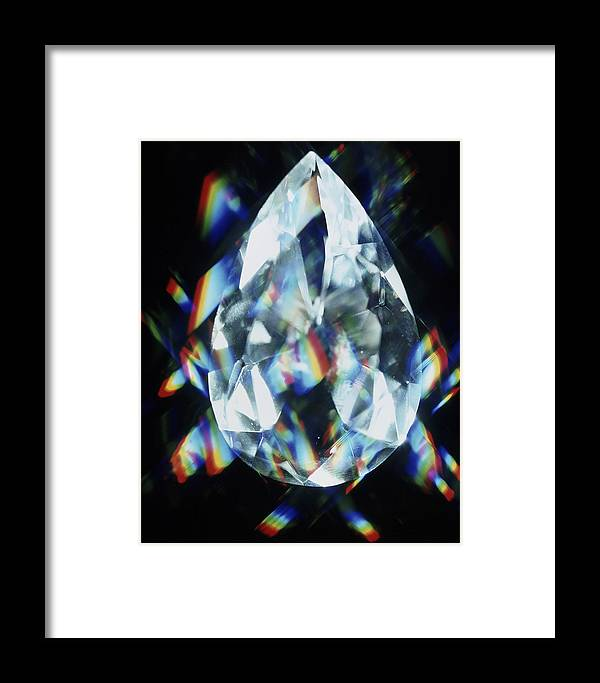 Diamond Framed Print featuring the photograph Cut And Polished Diamond by Pasieka