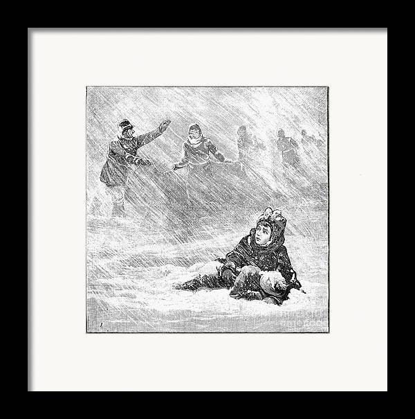 1888 Framed Print featuring the photograph Dakota Blizzard, 1888 by Granger