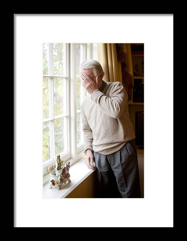70s Framed Print featuring the photograph Depressed Senior Man by