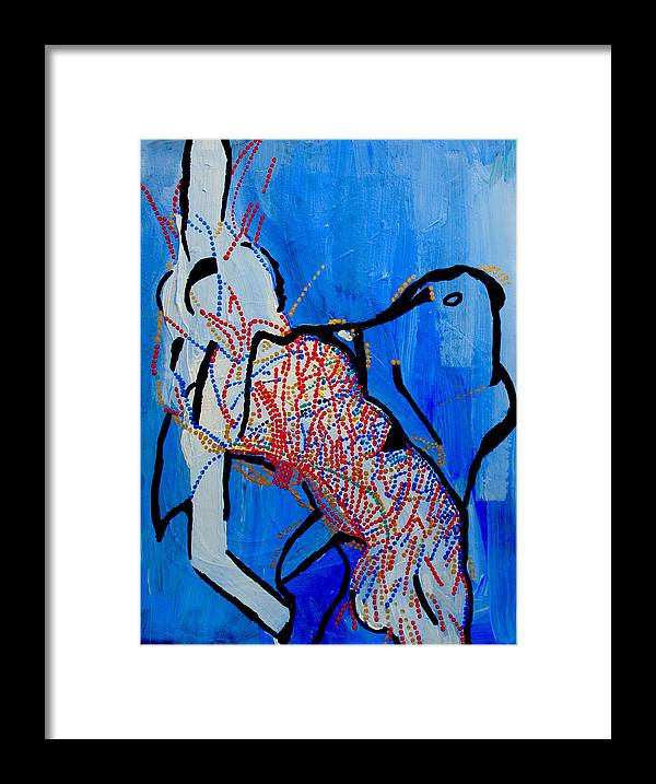 Jesus Framed Print featuring the painting Dinka Corset - Manlual - South Sudan by Gloria Ssali