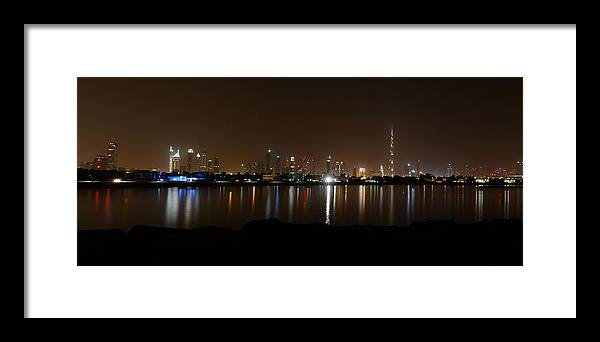 Outdoors Framed Print featuring the photograph Dubai By Night by Jesse James Fernandez