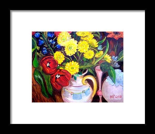 Flowers Framed Print featuring the painting Easter Flowers by Madeleine Prochazka