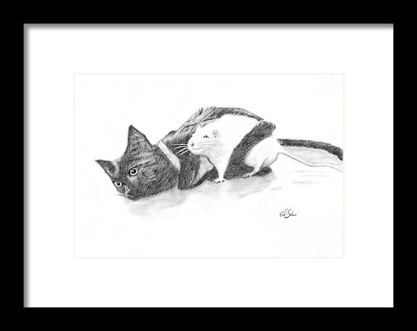Graphite Drawing Framed Print featuring the drawing Ebony And Ivory by Karen Clark