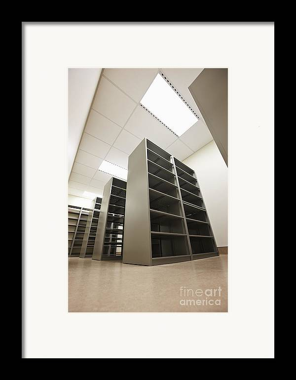 Architecture Framed Print featuring the photograph Empty Metal Shelves by Jetta Productions, Inc
