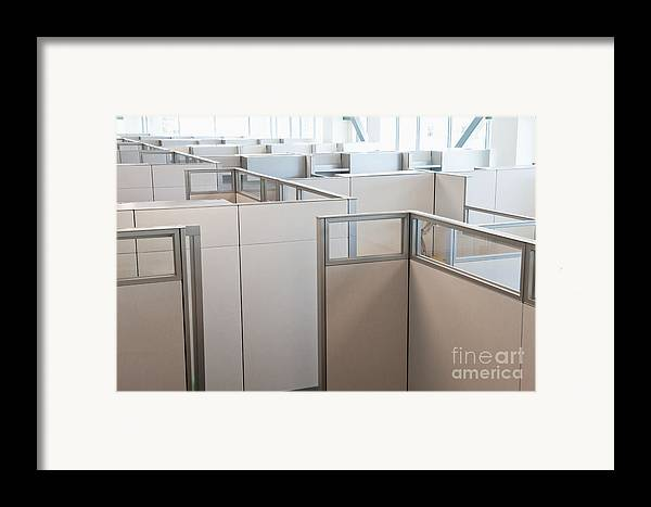 Architecture Framed Print featuring the photograph Empty Office Cubicles by Jetta Productions, Inc
