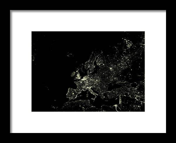 Europe Framed Print featuring the photograph Europe At Night by Planetobserver