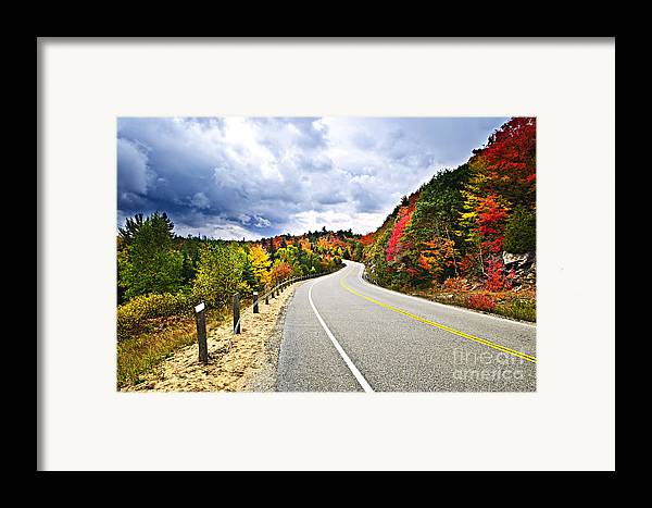 Road Framed Print featuring the photograph Fall Highway by Elena Elisseeva