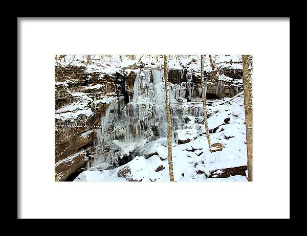 Ice Framed Print featuring the photograph Falling Springs by Carolyn Postelwait