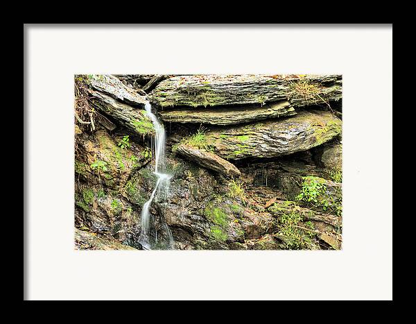 Waterfall Mountain Mountains Creek Stream Spring Fed Natural Nature Harpers Ferry West Virginia Wv Va Md Maryland Potomac Shenandoah River Rivers Basin Watershed Falling Waters Framed Print featuring the photograph Falling Waters by JC Findley