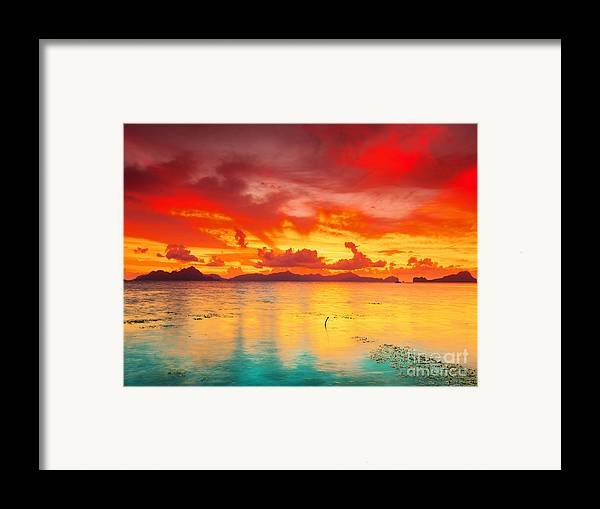 Sunset Framed Print featuring the photograph Fantasy Sunset by MotHaiBaPhoto Prints