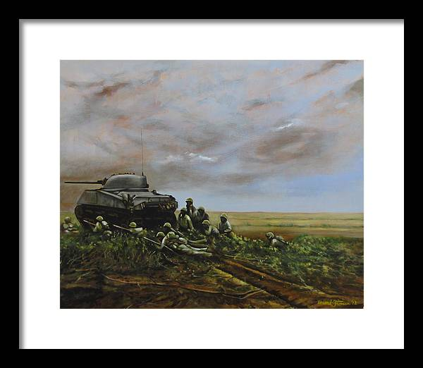 World War Two; Landscape; Soldiers; Military; Us Army; Combat; Infantry; Tank; Riflemen; War Framed Print featuring the painting Field Of Flowers by Howard Stroman