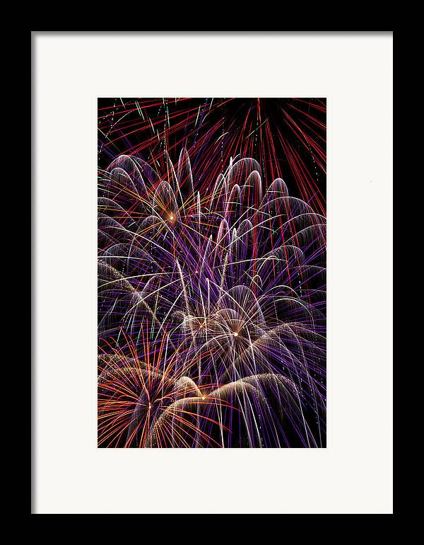 Fireworks 4th Of July Framed Print featuring the photograph Fireworks by Garry Gay