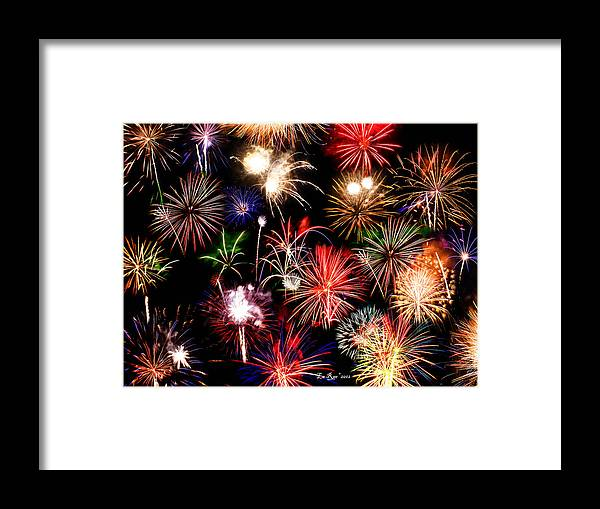 Fireworks Framed Print featuring the photograph Fireworks Medley by La Rae Roberts