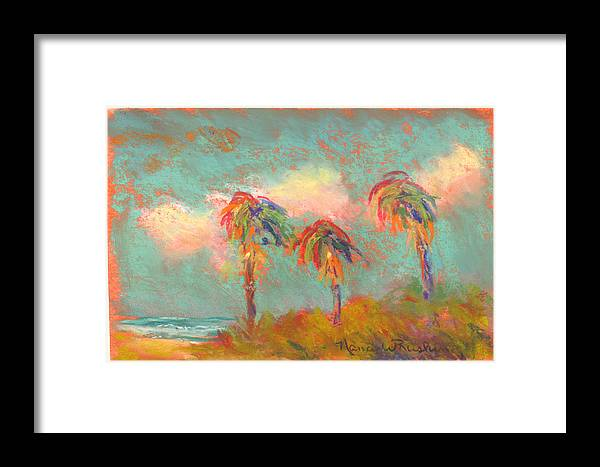 Beach Framed Print featuring the pastel Folly Beach Wind Blown by Nancy w Rushing
