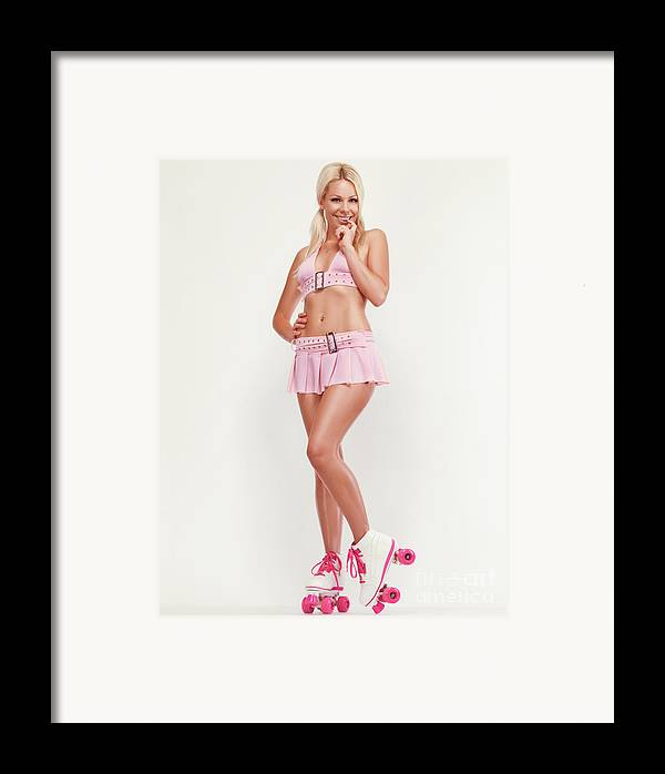 Roller Skates Framed Print featuring the photograph Glamorous Girl On Roller Skates by Oleksiy Maksymenko