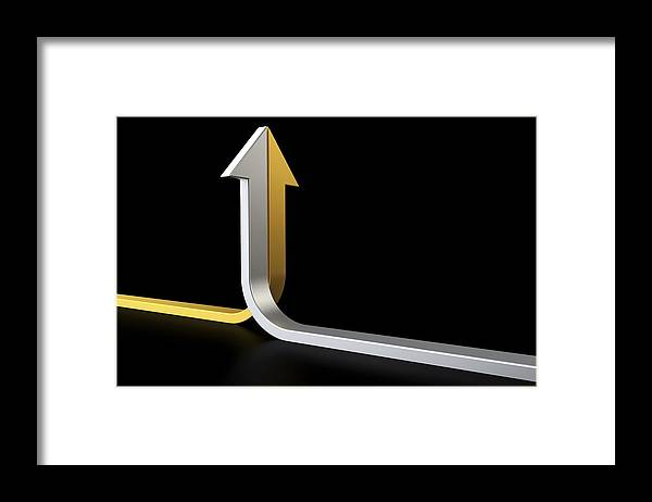 Horizontal Framed Print featuring the digital art Golden And Silver Arrows by Bjorn Holland