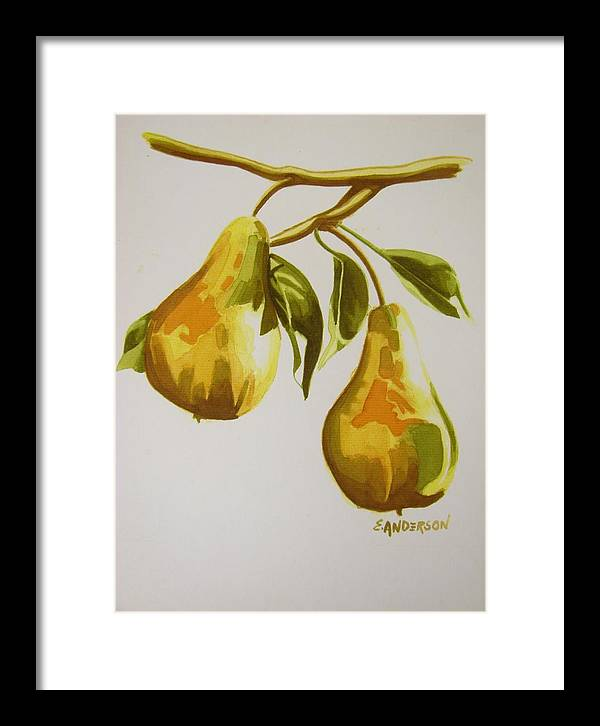 Fruits And Vegetables Framed Print featuring the painting Golden Pears by Emmanuel Anderson