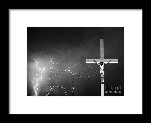 God Framed Print featuring the photograph Good Friday - Crucifixion Of Jesus Bw by James BO Insogna
