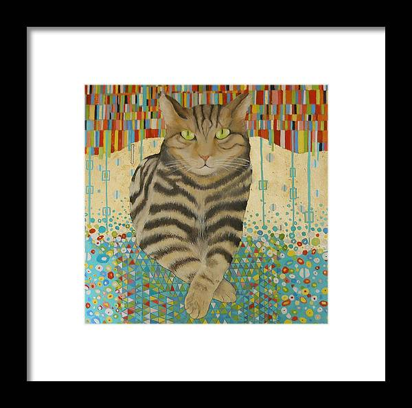Cat Portrait With Gold Leaf Framed Print featuring the painting Harvey by William Lorimer