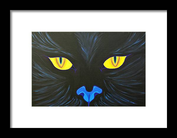 Cat Framed Print featuring the painting Here Kitty by Nikki Rondeau