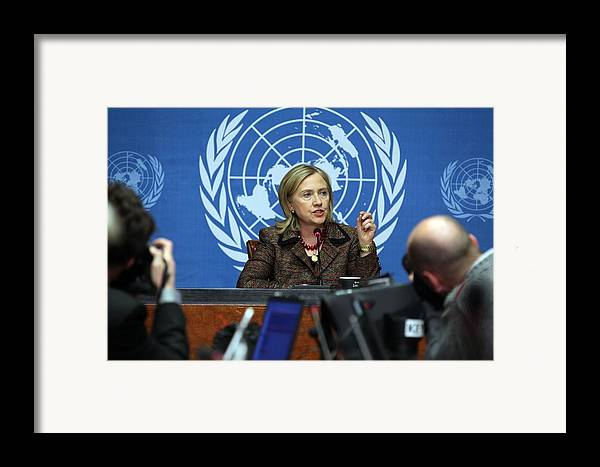 History Framed Print featuring the photograph Hillary Clinton Speaking To The Press by Everett