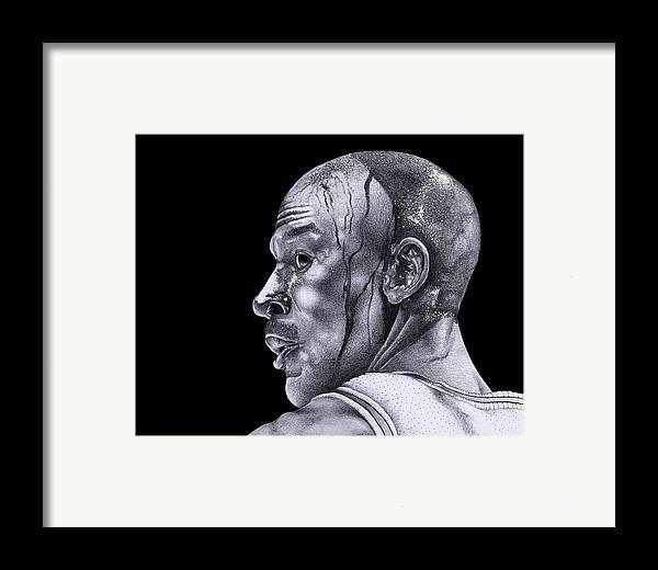 Jordan Drawing Framed Print featuring the drawing Homage To Jordan by Lee Appleby