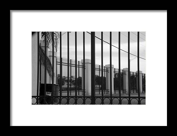 Black And White Framed Print featuring the photograph Iron And Pillars by Rob Hans