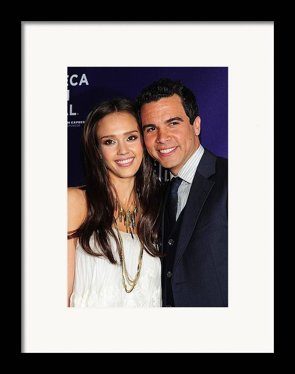 Jessica Alba Framed Print featuring the photograph Jessica Alba, Cash Warren At Arrivals by Everett