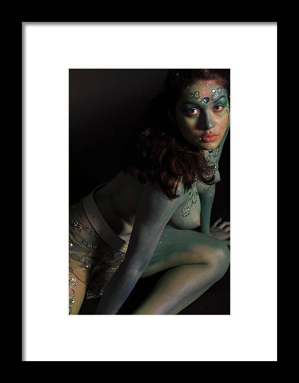 Blue Framed Print featuring the photograph Kasper Body Painting by RoByn Thompson